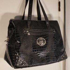 Kathy Van Zeeland Black Patent Leather Travel Bag